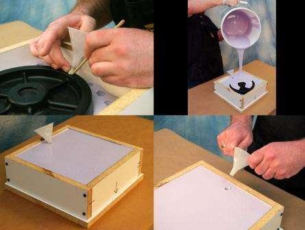 Процесс заливки – дело тонкое и тут необходим стол или какой-то другой предмет, который будет стоять четко по уровню